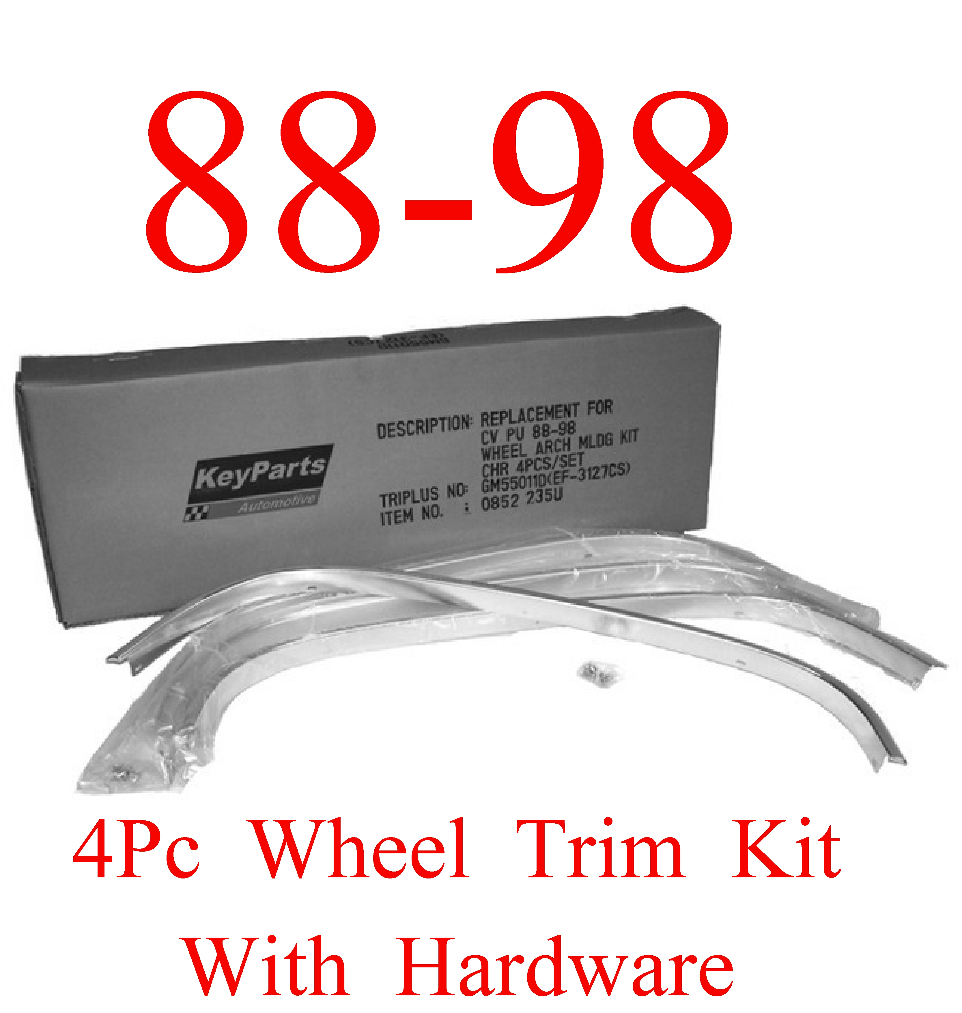 88-98 Chevy GMC 4Pc Wheel Well Trim Kit Chrome